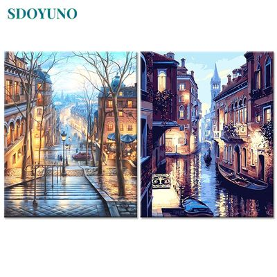 SDOYUNO Frame DIY Painting By Numbers Kits Venice Night Landscape Hand Painted Oil Paint By Numbers Unique Gift For Home Decor