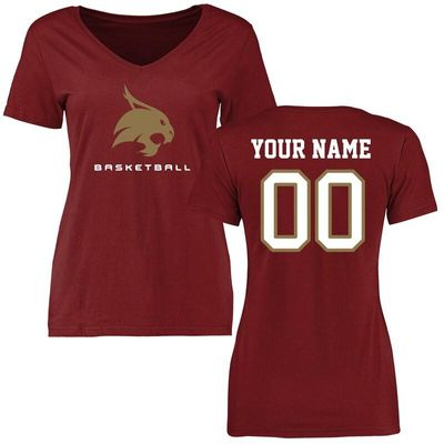 Texas State Bobcats Women's Personalized Basketball T-Shirt - Maroon