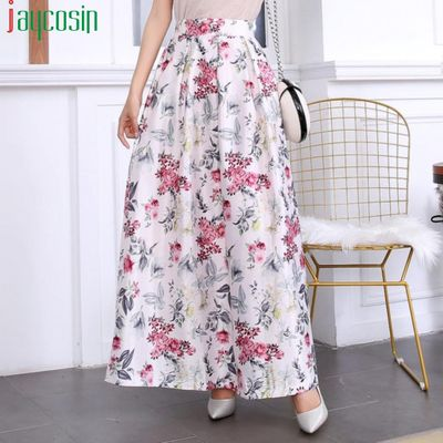 Women's long skirt floral print pleated high waist A-line fashion Female breathable casual floral skirt faldas largas mujer