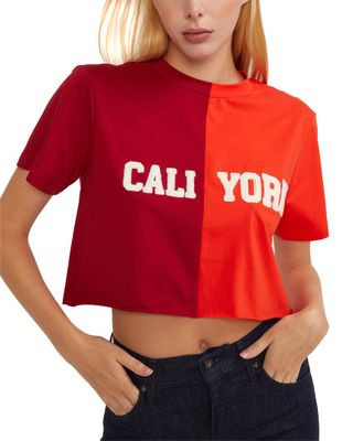 Cynthia Rowley Embroidered Crop Cali York T-Shirt
