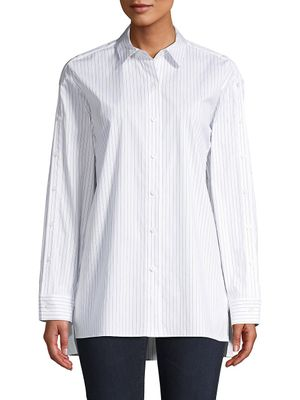 Lafayette 148 New York Pinstriped Long-Sleeve Shirt