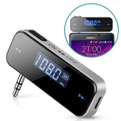 3.5mm In-car Music Audio FM Transmitter LCD Display Car Kit Mini Wireless Transmitter For Android / iPhone Free Shipping
