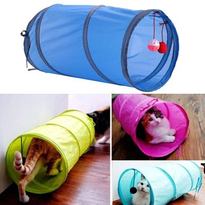 Camouflage Crackle Chute Pet Cat Small Animal Tunnel Blue Toys With Plush Ball