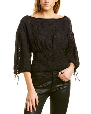 Iro Embroidered Smocked Top