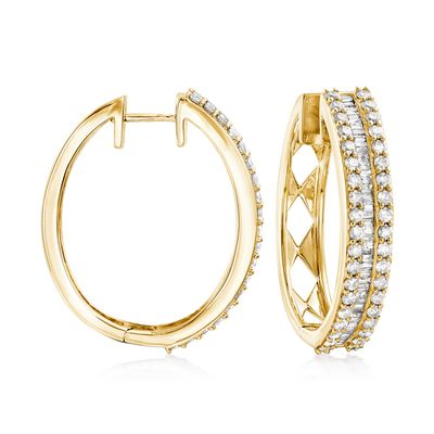 Ross-Simons Baguette and Round Diamond Hoop Earrings in 18kt Gold Over Sterling