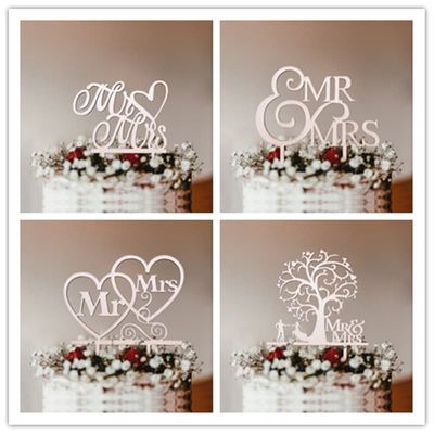 1pc Mr & Mrs Wooden Cake Toppers Hollow Letters Cakes Top Ornaments Engagement Home Party Decoration Supplies DIY Wedding Favors