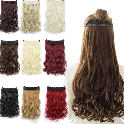SHANGKE 60cm 5 Clip In Hair Extension Heat Resistant Fake Hairpieces Long Wavy Hairstyles Synthetic Clip In On Hair Extensions