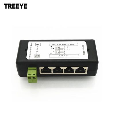 4 Port PoE Injector 4CH PoE Power Adapter Ethernet Power Supply Pin 4,5(+)/7,8(-) Input DC12V-DC48V for IP Camera