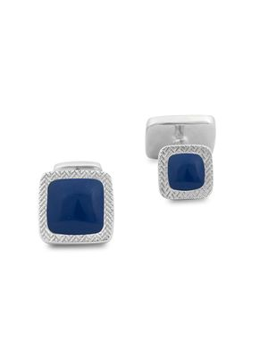 Zegna Square Lapis Sterling Silver Cufflinks