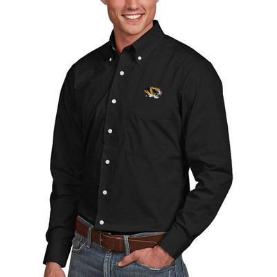 Missouri Tigers Antigua Dynasty Woven Long Sleeve Button-Down Shirt - Black