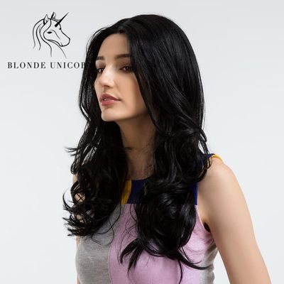 BLONDE UNICORN High Temperature Fiber Blend Hair Wigs For Black/White Women Long Wave African American Pure Black Wigs 24 inch