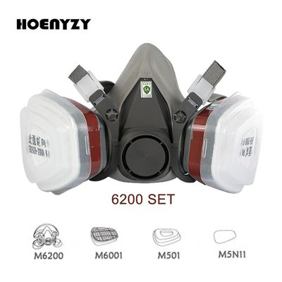 6200 Type Industrial Half Face Painting Spraying Respirator Gas Mask Suit Safety Work Filter Dust Mask Replace 3M