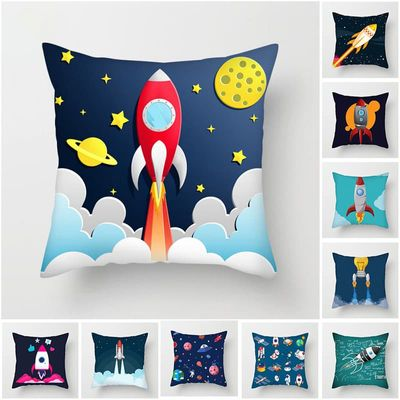 Cartoon Spacecraft Cushion Cover Astronaut Rocket Pillow Cover for Home Chair Outer Space Decorative Pillows 45*45cm Unique   .