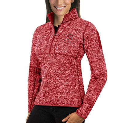 NC State Wolfpack Antigua Women's Fortune 1/2-Zip Pullover Sweater - Red