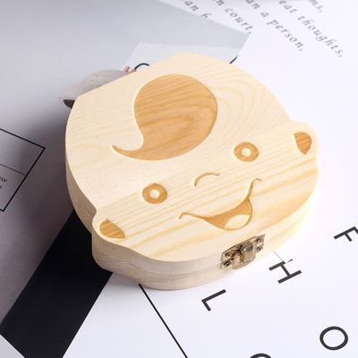 English/Spanish Wooden Baby Tooth Box Organizer Milk Teeth Storage Umbilical Lanugo Save Collect Baby Souvenirs Gifts