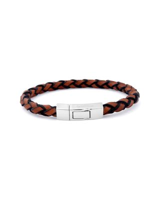 Tateossian Silver Single Wrap Scoubidou Tan Leather Bracelet