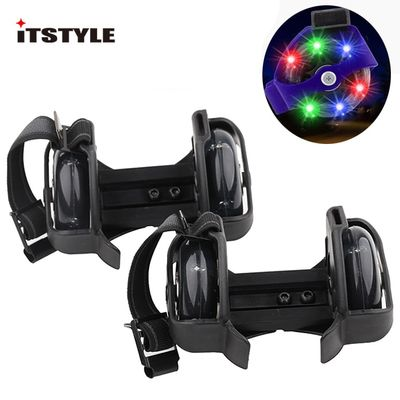ITSTYLE Colorful Flashing Roller Whirlwind Pulley Flash Wheels Heel Roller Adjustable Simply Roller Skating Shoes for kids Adult