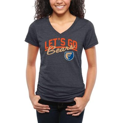 Morgan State Bears Women's Let's Go Tri-Blend V-Neck T-Shirt - Navy