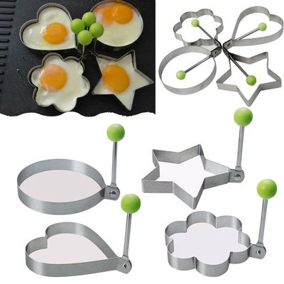 1pc Fitness-centered Stainless Steel Omelet Mold Breakfast Maker Kitchen Accessories Fried Egg Device Five-form Durable Molds
