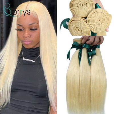10A Brazilian 100% Human Hair 613 Blonde 1/3/4 PCS Straight Double Weft Virgin Hair Bundles Weave Bleached Knots Berryshair