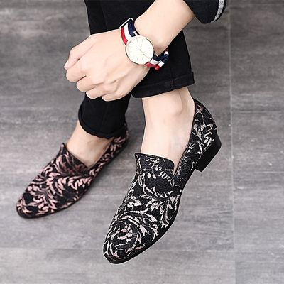 Men Plus Size Embroidery Loafers Hairdresser Working Shoes-Pink