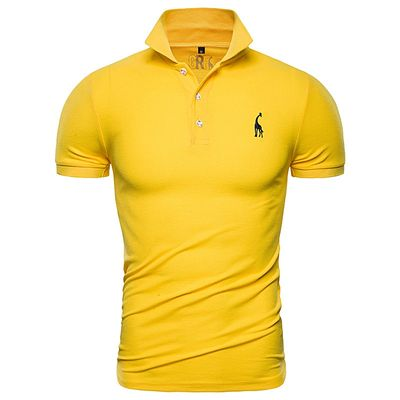 Polo Shirts Men's Casual Deer Embroidery Cotton Polo T-shirt