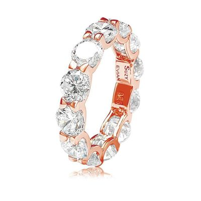 Suzy Levian Rosed Sterling Silver Cubic Zirconia Round U-Shape Eternity Band