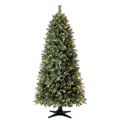 Holiday Time Pre-Lit Brookfield Fir Quick Set® Artificial Christmas Tree, 7', Clear Lights