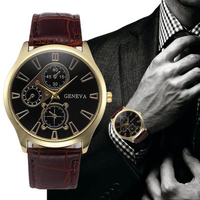 2020 Hot men Watches Retro Design Leather Band Analog Alloy Quartz Wrist Watch Top Gifts Dropshipping B50