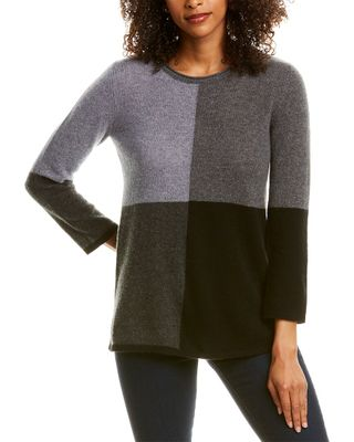 Hannah Rose Relaxed Colorblocked Cashmere Sweater