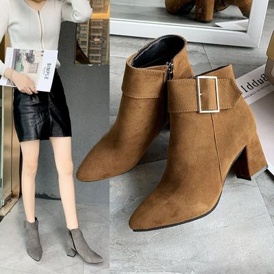 New Brand Women's Ankle Boots Zipper Mid Square Heels Platform For Ladies Buckle Footwear Women's Shoes Solid Mujer YYJ268