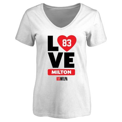 Keavon Milton Fanatics Branded Women's I Heart V-Neck T-Shirt - White
