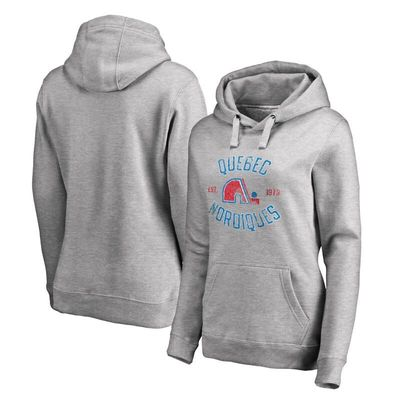 Quebec Nordiques Women's Heritage Pullover Hoodie - Ash