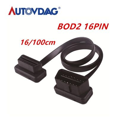 60/100cm OBD2 16pin cable Flat Thin As Noodle OBDII OBD2 16Pin ELM327 Male To Female Elbow  OBD2 Car Diagnostic Connector Cable