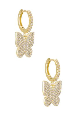 Adina's Jewels Pave Large Butterfly Huggie Earring