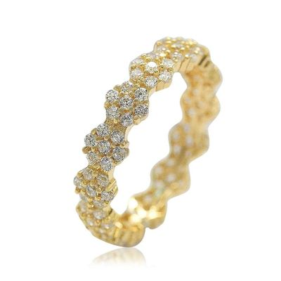 Suzy Levian Golden Sterling Silver Cubic Zirconia Floral Eternity Band
