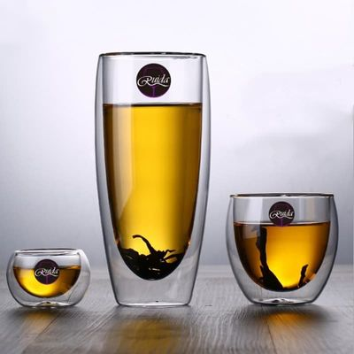 Brand 5 Size Lead-free Double Wall Handmade Glass Heat Resistant Tea Coffee Drink Cup Insulated Clear Glass Drinkware