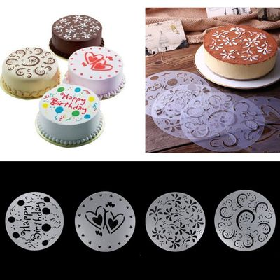 4pcs cake biscuit stencil bakery tool fondant mold Bakeware Baking Fondant Cake Stencil Template Mold Birthday Spiral Decoration