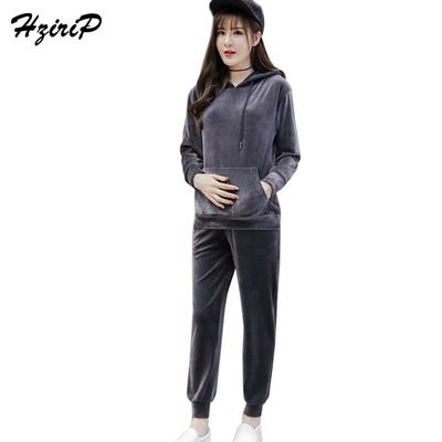 HziriP 2017 New Autumn Winter Maternity Sets Hooded Sweatshirts + Pants Leisure Sports Set Long Sleeves Pregnant Women Clothes