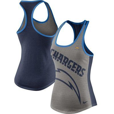 Los Angeles Chargers Nike Women's Touchdown Tri-Blend Performance Tank Top - Gray/Navy