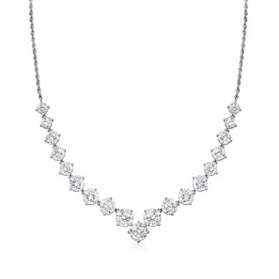 Ross-Simons CZ Graduated Necklace in Sterling Silver