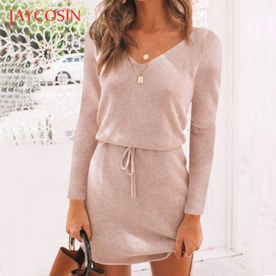 Jaycosin Winter Dress Women Sexy Irregular V Collar Lace-up Casual Long Sleeve Dresses bodycon party dress sweater dress vestido