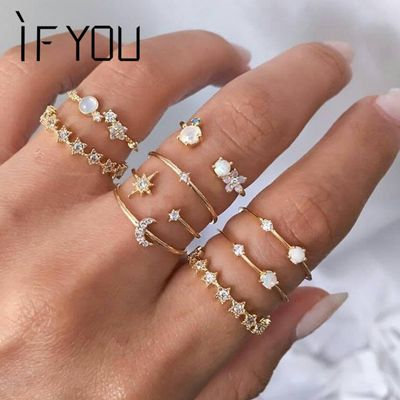 IF YOU Vintage Knuckle Crystal  Rings For Women Trendy Finger Bohemian Ins Star Moon Rings Set Wedding Engagement  Jewelry 2020