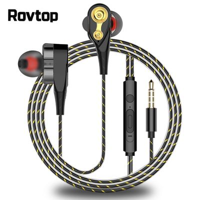 Rovtop Magnetic Wired Stereo in-Ear Earphones Super Bass Dual Drive Headset Earbuds Earphone For Huawei Samsung SmartPhone