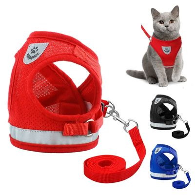 Nylon Cat Harness Leash Set Reflective Kitten Puppy Small Animal Jacket Mesh Pet Clothes Chihuahua Yorkies Pug Vest Supplies