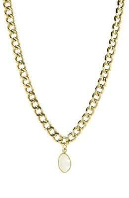 Adornia Curb Chain Necklace Moonstone Yellow Gold Vermeil .925 Sterling Silver