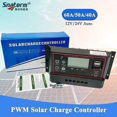 12V 24V Auto 60A 50A 40Amps PWM Solar Charge Controller Solar Battery Charger Solar PV Regulators With LCD Display And 5V USB(60A 12V 24V Auto)