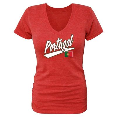 Portugal Fanatics Branded Women's Freehand Tri-Blend V-Neck T-Shirt - Red