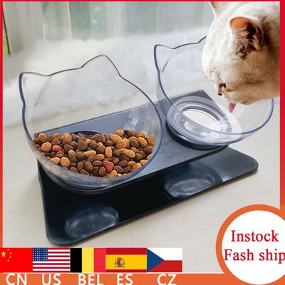 Cat Bowls Double Cat Bowl With Raised Stand For Cats Dogs Feeders Cats Drinking Bowl Dog Feeding Pet Food Water Bowls