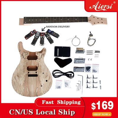 Aiersi Unfinished guitar set Solid wood body DIY PRS Electric Guitar Kits With All Hardwares
